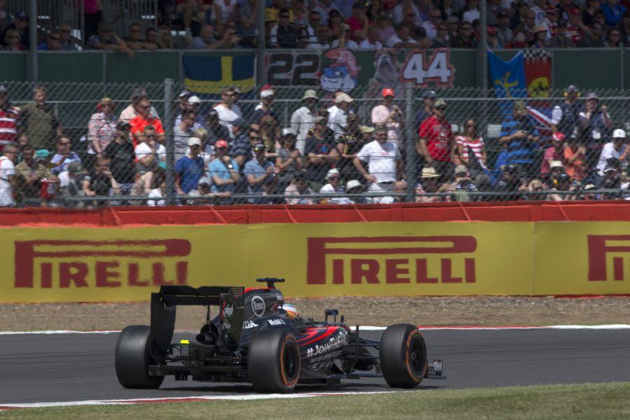 Fernando Alonso on track in the McLaren-Honda