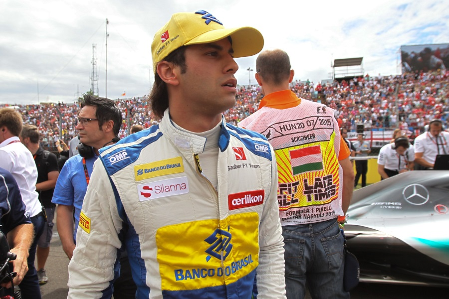 Felipe Nasr on the grid prior to race