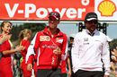 Sebastian Vettel and Fernando Alonso chat at the drivers parade