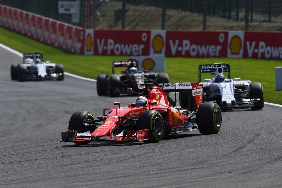 Sebastian Vettel leads Valtteri Bottas