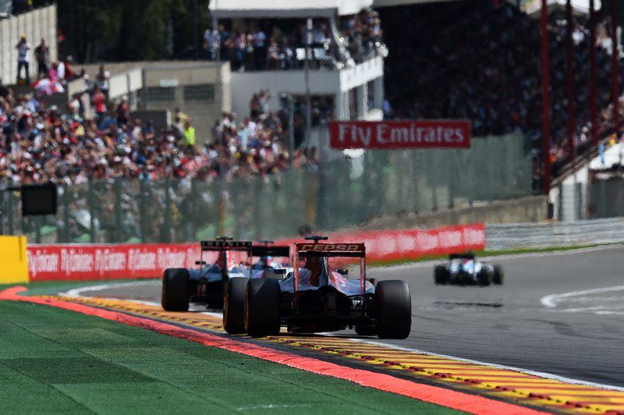 Max Verstappen chases Felipe Massa and Daniil Kvyat