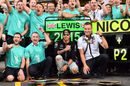 Mercedes celebrates Lewis Hamilton's win and Nico Rosberg's second
