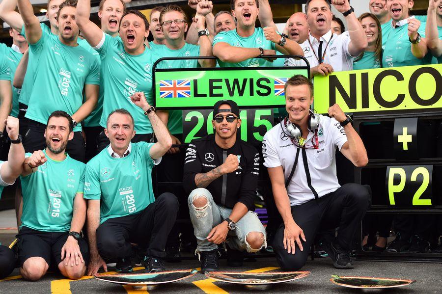 Mercedes celebrates Lewis Hamilton's win and Nico Rosberg's second