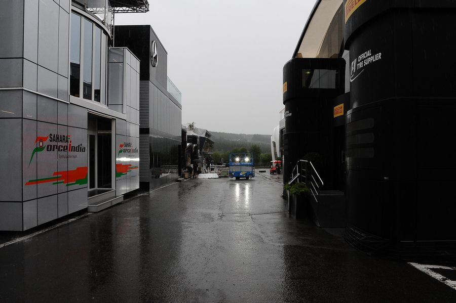 Rain over the paddock after the race