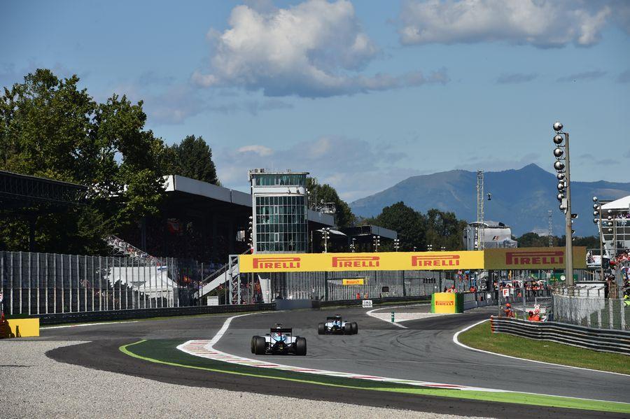 Valtteri Bottas chases his teammate Felipe Massa for the third