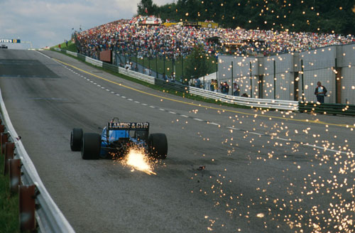 Sparks fly down the pit straight