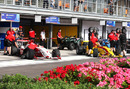Flower and power: the pit lane in Marrakech during the qualifying session for the FIA Formula Two Championship