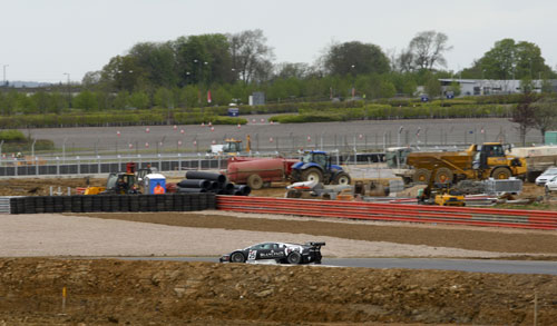 The FIA GT1 World Championship against the backdrop of continuing building works at SIlverstone