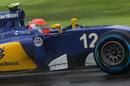 Felipe Nasr cranks on the steering lock in the Sauber