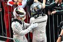 Lewis Hamilton and Nico Rosberg celebrate Mercedes's one-two