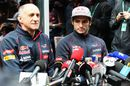 Carlos Sainz talks to the media with Franz Tost
