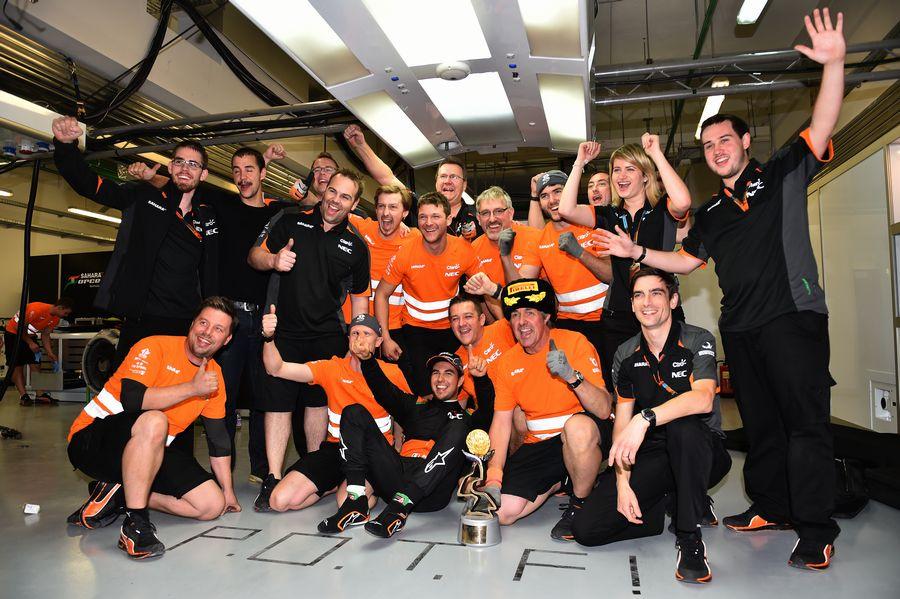Force India celebrates Sergio Perez for his third place