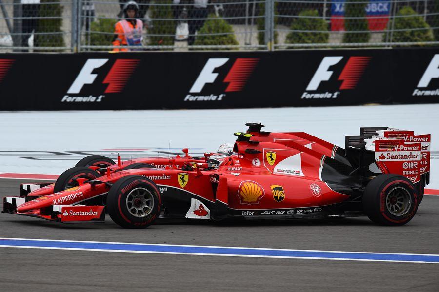 Sebastian Vettel and Kimi Raikkonen battle for a position
