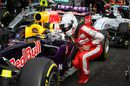 Sebastian Vettel loos at the Red Bull in parc ferme