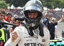 Nico Rosberg celebrates his pole in parc ferme