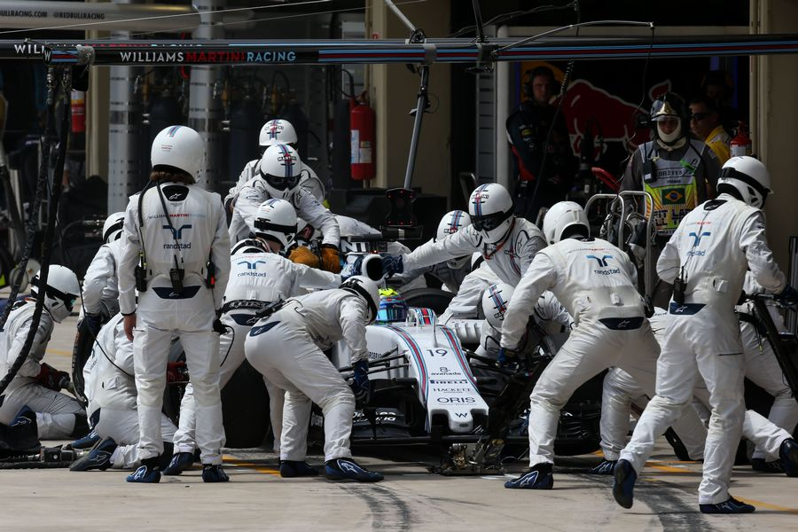 Felipe Massa makes a pit stop