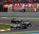 Nico Rosberg heads Rubens Barrichello and Nico Hulkenberg