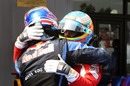 Mark Webber congratulates Fernando Alonso