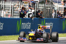 Mark Webber crosses the line to win the Spanish Grand Prix