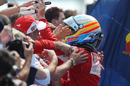 Fernando Alonso celebrates finishing second