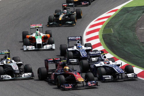 Rubens Barrichello makes a fantastic start to the Spanish Grand Prix