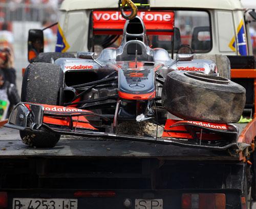 The remains of Lewis Hamilton's McLaren