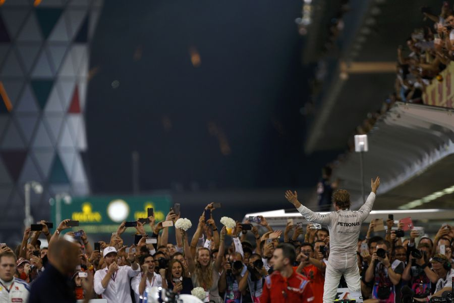 Nico Rosberg celebrates in parc ferme after the race