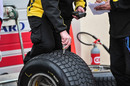 Pirelli engineers check tyre temperature