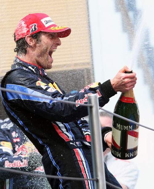 Mark Webber celebrates in style