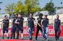 Daniil Kvyat and Carlos Sainz walk the track