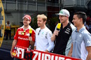 The German drivers talk with media