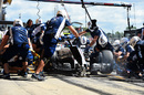 Valtteri Bottas makes a pit stop during FP1