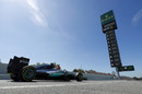 Nico Rosberg exits the pit lane