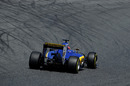 Felipe Nasr puts on a soft tyre