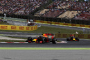 Daniel Ricciardo leads the field after Mercedes retirement