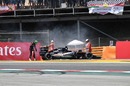 Nico Hulkenberg retires from the race with a fire