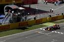 Race winner Max Verstappen crosses the line