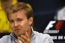 Nico Rosberg answers questions in the press conference