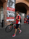 Sebastian Vettel arrives at the circuit by bicycle