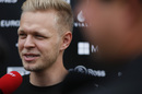 Kevin Magnussen answers questions from media