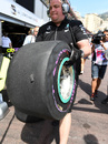 Nico Rosberg suffers a puncture