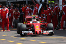 Kimi Raikkonen leaves the pit