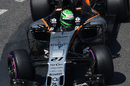 Nico Hulkenberg works on his program with Force India