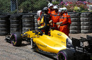 Kevin Magnussen stops his car during FP3