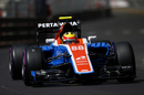 Rio Haryanto at speed in the Manor