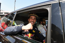 Pole sitter Daniel Ricciardo celebrates in parc ferme