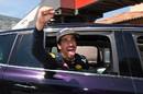 Daniel Ricciardo celebrates on his pole position
