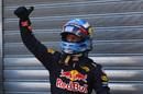 Daniel Ricciardo poses in parc ferme