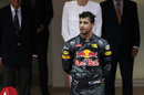 Daniel Ricciardo shows his disappointment on the podium