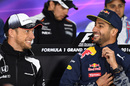 Jenson Button and Daniel Ricciardo chat in the Thursday press conference